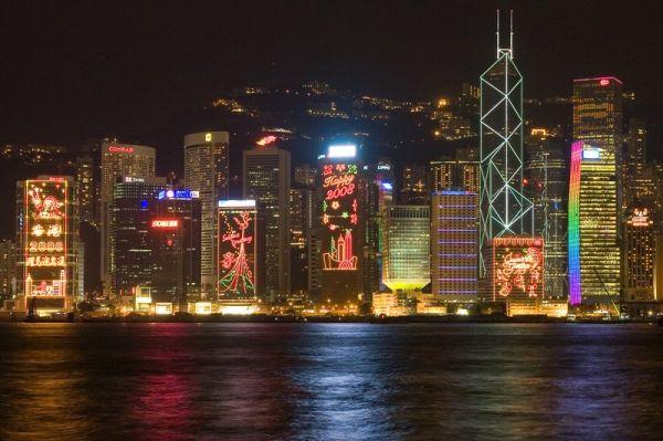 Viktorijos krantinė naktį Honkonge