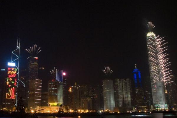 Naujametiniai fejerverkai Honkonge